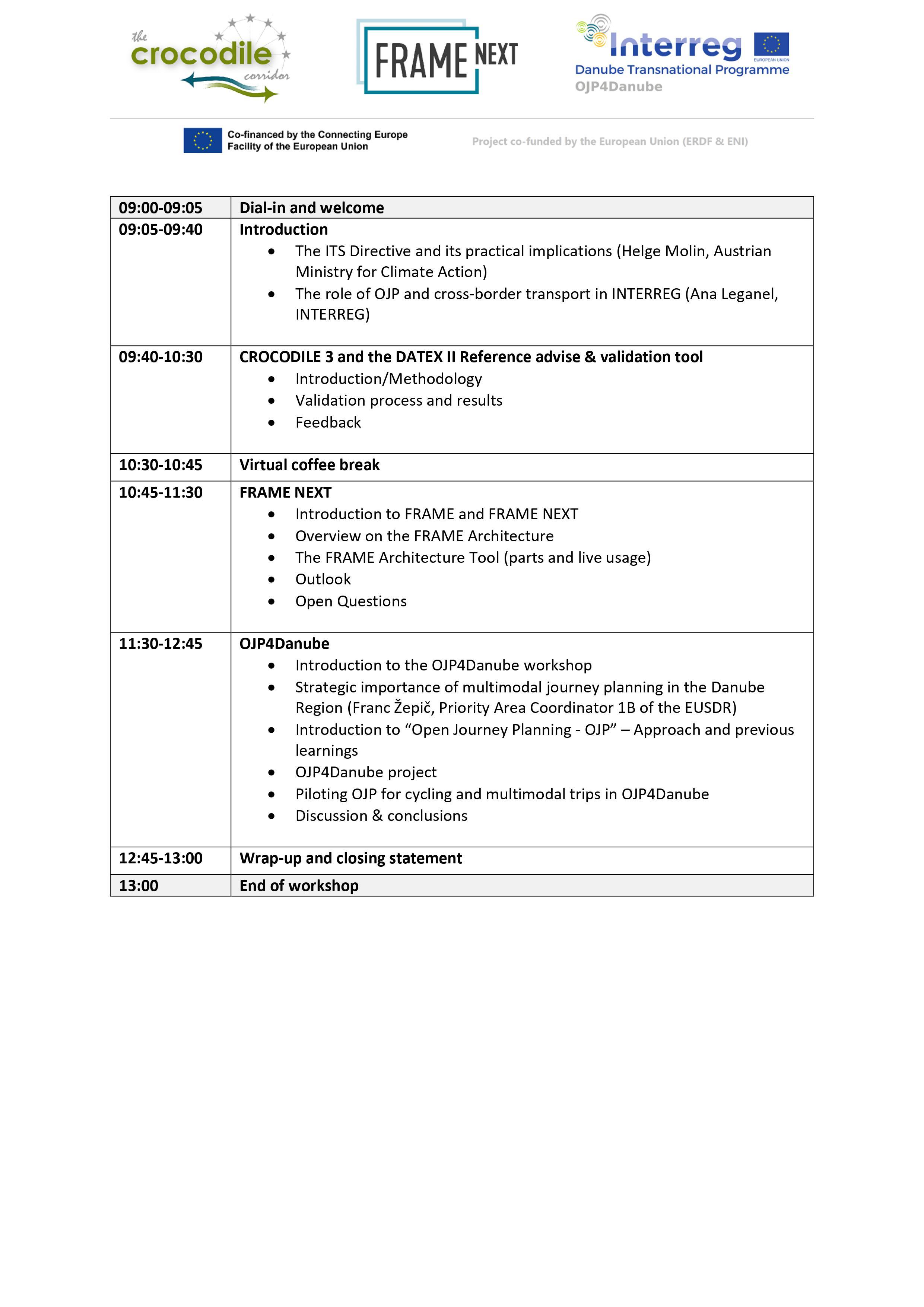 OJP4Danube- Kick-off dissemination event Agenda